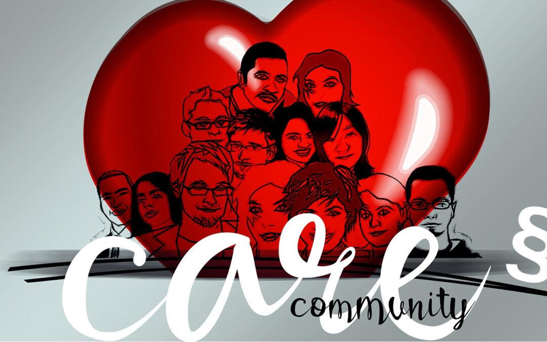 """""""Care Community"""" - Gezeichnet Gesichter auf einem roten Herzen als Symbol für die Gruppe der Pflegefachkräfte"""